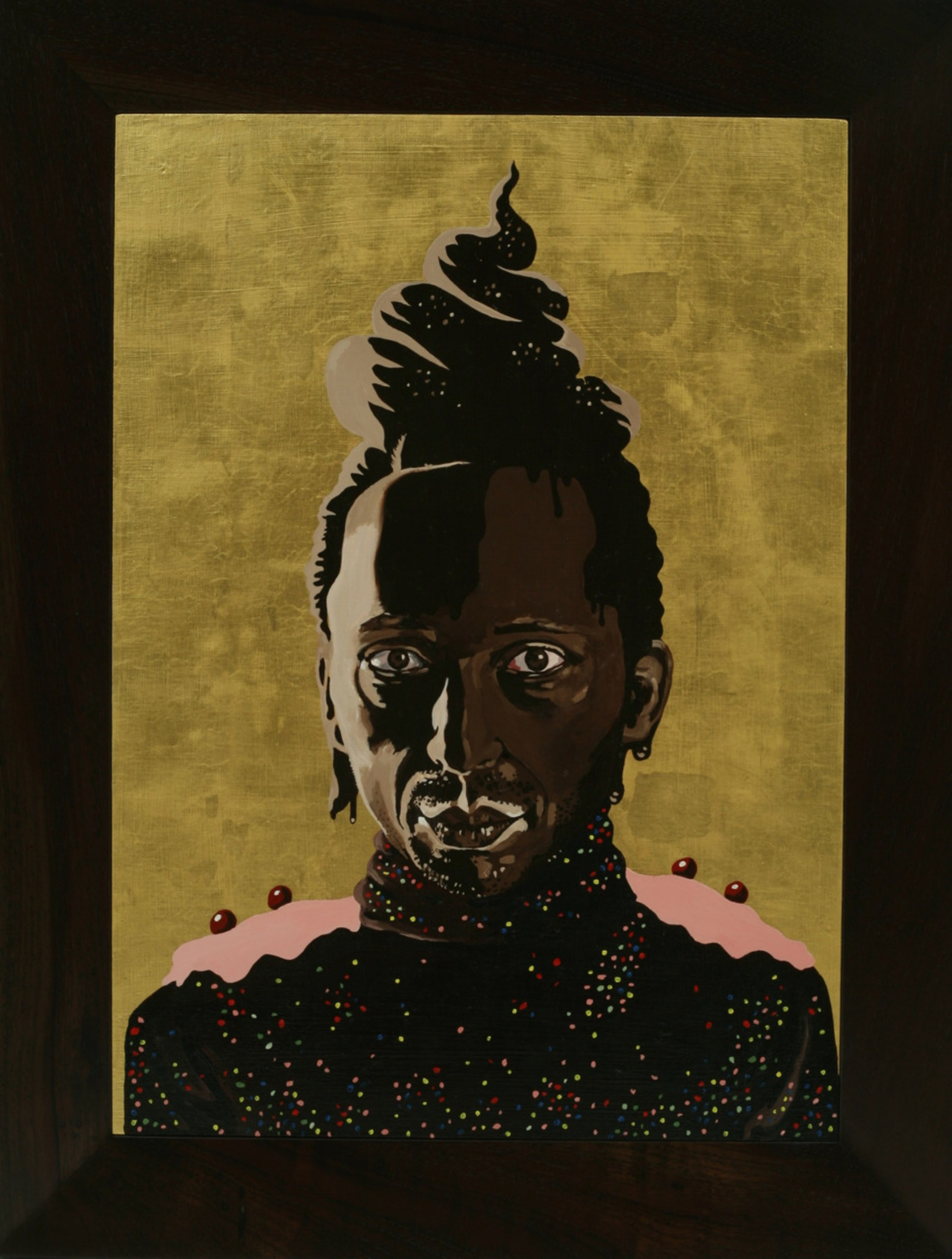 Frosted Self Portrait # 2 (aka Saint Chocolate), 2006, Oil and Goldleaf on wood, 50X70 cm
